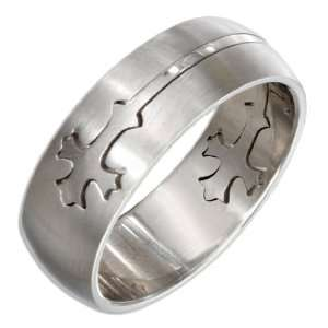 Stainless Steel Mens 8mm Satin and High Polish Cross Band