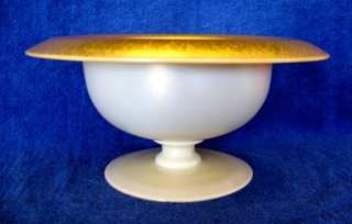 ANTIQUE CARDER STEUBEN AURENE & CALCITE FOOTED COMPOTE