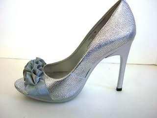 CARLOS SANTANA PRESTIGE NEW Silver Womens Open Toe Classic Pumps Shoes