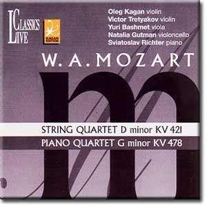 String Quartet D Minor Kv 421, Piano Quartet G Minor Kv