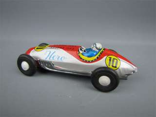 Vintage Tin Friction Race Car #10 Hero Made in Japan