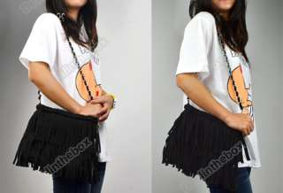1x Fashion Women Faux suede Fringe Tassel Shoulder Messenger Purse