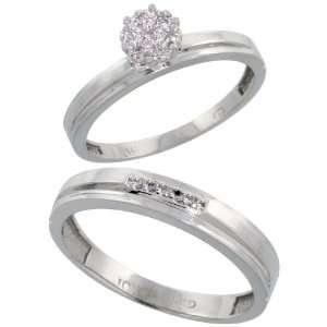 10k White Gold Diamond Engagement Rings Set for Men and Women 2 Piece