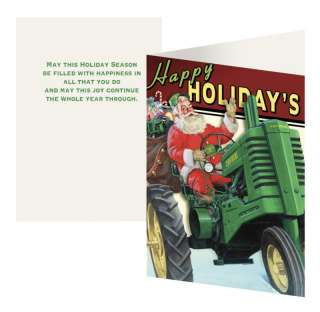 John Deere Happy Holidays Tractor Santa Cards