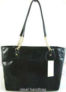 NEW NWT MICHAEL KORS JET SET CHAIN LEATHER BLACK PYTHON EAST WEST TOTE