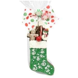 Golda & I Chocolatiers Milk & Crispy Stocking, Green with Snowflakes
