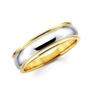 14K Solid 2 Two Tone Yellow White Gold Milgrain Wedding Band Ring 4mm