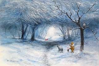 Disney Fine Art WINTER WALK Winne The Pooh SNOW SCENE