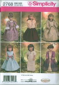 Simplicity American Girl 18 Doll Clothes Sew Pattern