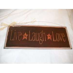 Rusty Tin Star Live Laugh Love Wooden Country Wall Art