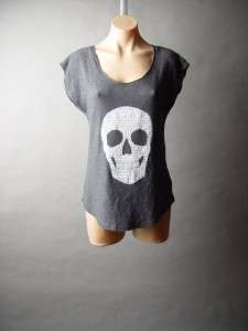 Charcoal Gray Studded Skull Graphic Print Punk Rock Edgy Goth Tee Top