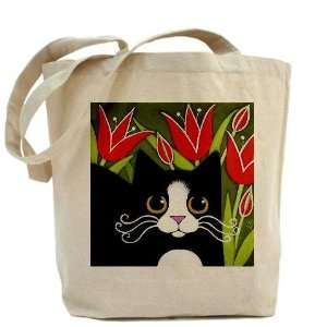 Black amp; White Tuxedo CAT Red Tulips Pets Tote Bag by