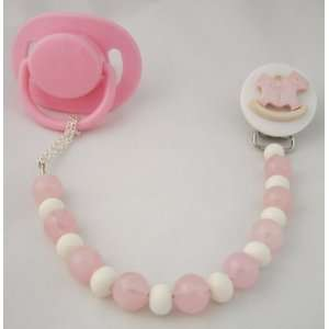 Baby Pink Rocking Horse Pacifier Clip: Baby