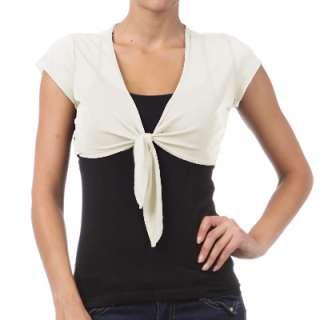 Front Tied Short Sleeved Sheer Bolero Shrug Wrap Jacket