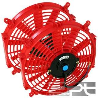 2X 12 12 VOLT RED SLIM ELECTRIC RACING RADIATOR FAN