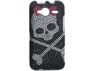 BLACK SKULLS BLING DIAMOND CASE COVER HTC EVO SHIFT 4G