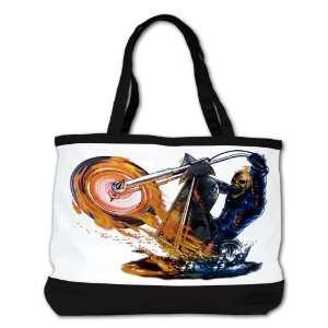 com Shoulder Bag Purse (2 Sided) Black Flaming Skeleton Skull Riding