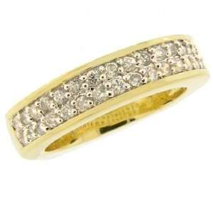 925 Clear CZ Gold Vermeil Plated Wedding Band Ring, 7.5 Jewelry