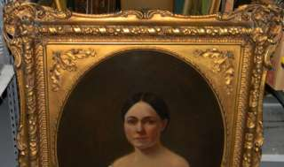 ANTIQUE 1860 OIL PORTRAIT LADY OIL PAINTING GILT FRAME