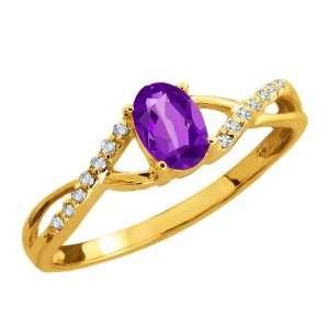 0.53 Ct Oval Purple Amethyst and White Diamond 14k Yellow
