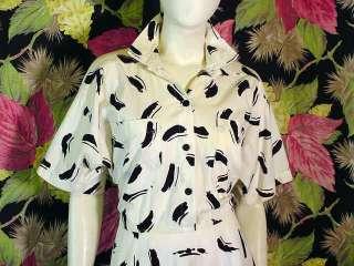 80s White/black Scribble print Shirtwaist dress L/XL 46