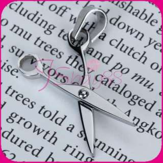 Unisex Stainless Steel Scissors Necklace Charm Pendant