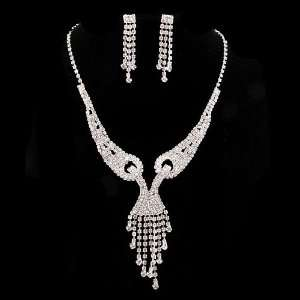 Bridal Wedding Jewelry Set Necklace Earring Crystal