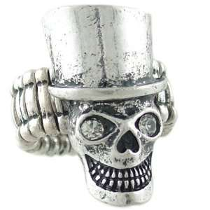 Rock n Roll Skull in Top Hat Ring in Silver Tone and Crystal Stretches