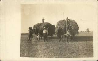 Farming Scene Horses Hay Wagons Real Photo c1910 Postcard