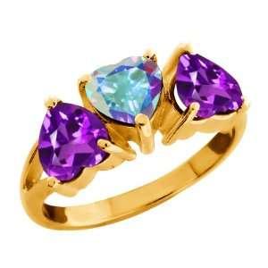 55 Ct Heart Mercury Mist Mystic Topaz Amethyst Gold Plated Silver Ring