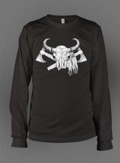 Cow Skull Cross Axe Gothic Thermal Long Sleeve Shirt
