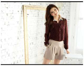 FREE SHIP S/M NEW Women Lady Sexy Brown Buttons Cotton Dress Shorts