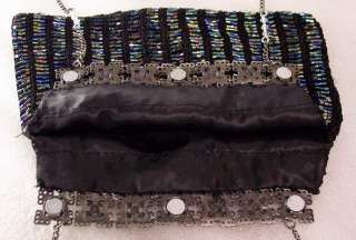 Victorian BLACK GLASS Beaded Purse Clutch Evening Bag