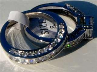 2pcsPrincess cut1.8ctw CZ Cubic Zirconia Engagement Wedding Ring set