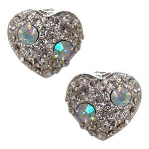Fabiana Silver Aurora Borealis Crystal Heart Clip On Earrings Jewelry