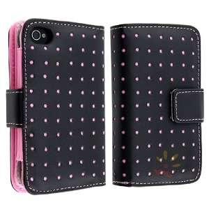For Apple® iPhone® 4/4S Wallet Leather Case , Black/Pink