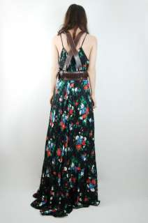 Vtg 70s Black FLORAL Draped GODDESS Gypsy Hippie MAXI Dress S/M