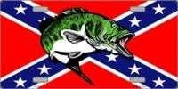 REBEL FISH * CONFEDERATE FLAG LICENSE PLATE AUTO TAG