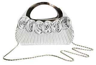 New Satin Rose Ornament Silver Handle Party Clutch Bag
