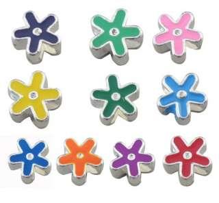 20 mixed color enamel flower beads fit Charm Bracelet