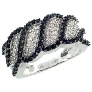 14k White Gold Swirl Design Diamond Ring, w/ 0.50 Carat Brilliant Cut