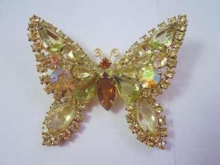 Vintage WEISS Topaz Citrine Aurora Borealis Rhinestone Butterfly