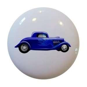Hot Rod Car Blue with Flames Cabinet Drawer Pull Knob