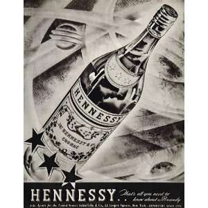 Three Star Cognac Brandy Bottle   Original Print Ad Home & Kitchen