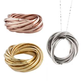 Rhodium, 10K Gold, or 10K Rose Gold Plated Linked Band Rings in Sizes
