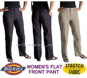Dickies Women Ladies FLAT FRONT PANT Black Khaki PETITE