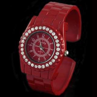 Dimond Face Stainless Steel Jelly Watch Girls Lady Bracelet Wrist