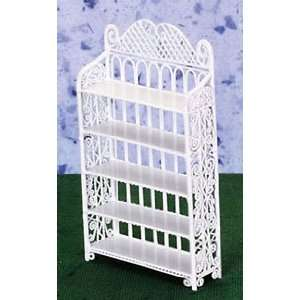 Dollhouse Miniature White Wire 5 Shelf Bookcase