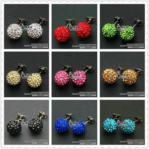 15 Colors Style Swarovski Crystal Disco Ball 10 mm Earrings Nail