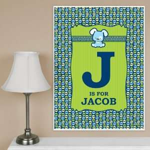 Boy Puppy Dog   Birthday Party Personalized Poster   18 x